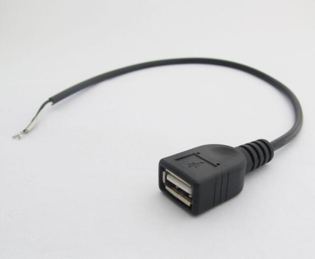 0.3m 30cm Black USB Female Jack 2 Wire Power Cable Cord Connectors ...