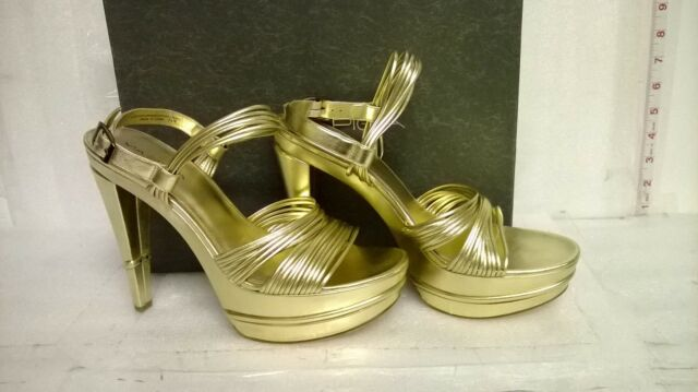 Via Spiga New Store Display Womens Aida Gold Leather Platform Heels 9.5 M Shoes
