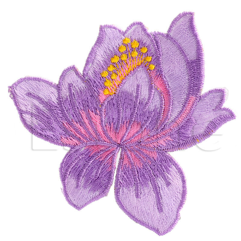 Lotus flower embroidered iron on patch applique motif garment decor picture 8 of 8 mightylinksfo