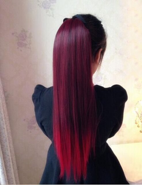 Women Straight Wine Red Gradien Ponytail 50 Human Hair Extensions