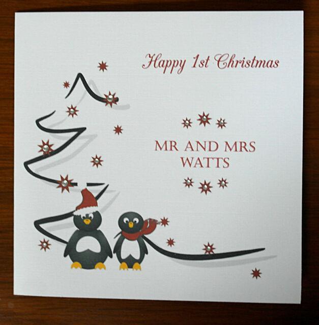 Personalised Handmade Penguins 1st Christmas Card As