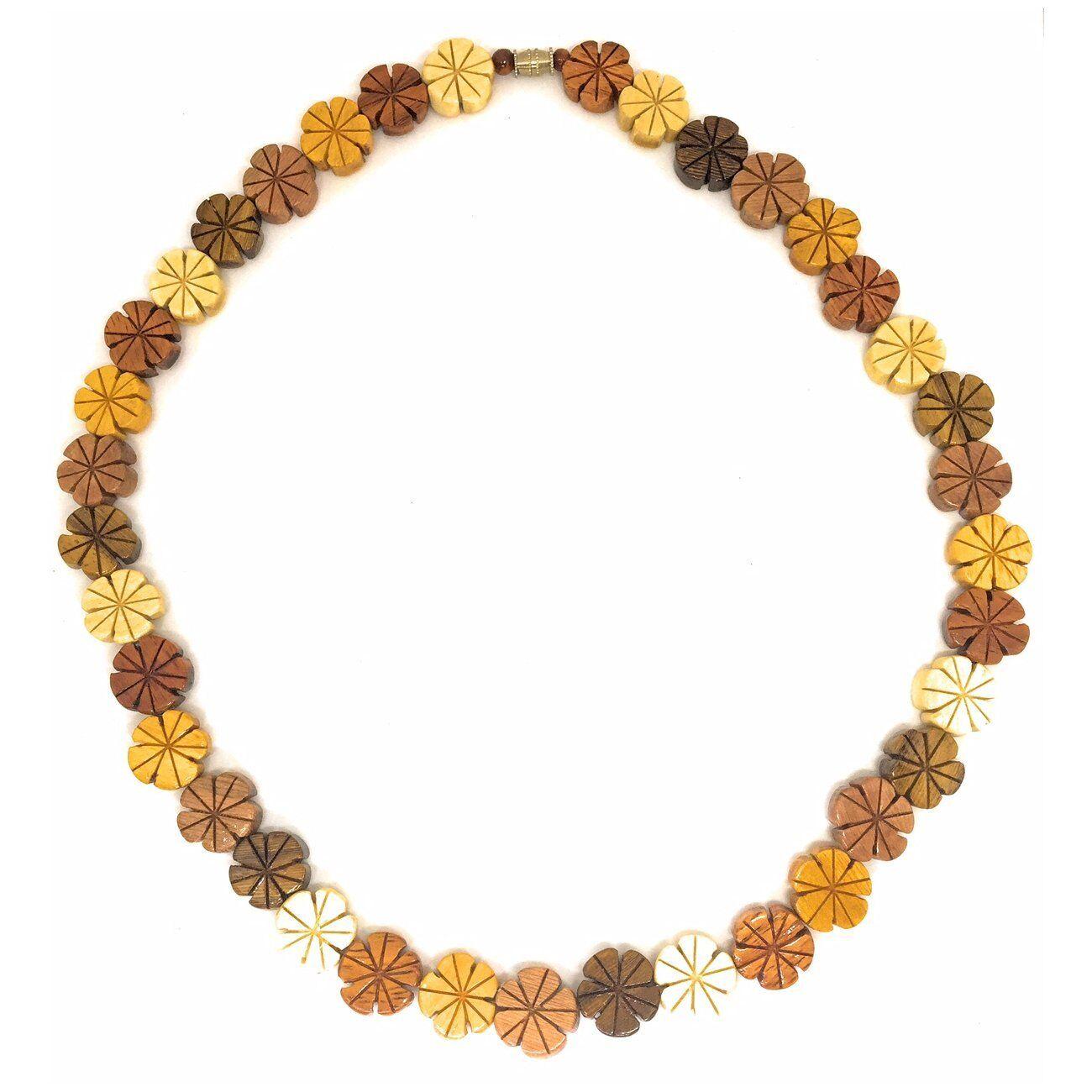 Hawaiian Jewelry Plumeria Flower Koa And Mahogany Wood Necklace From