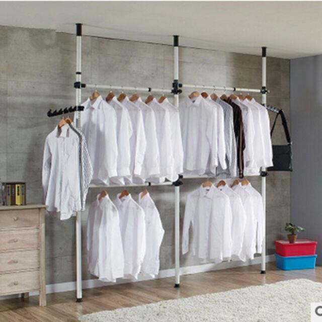 adjustable garment rack coat hanging display rail clothes. Black Bedroom Furniture Sets. Home Design Ideas