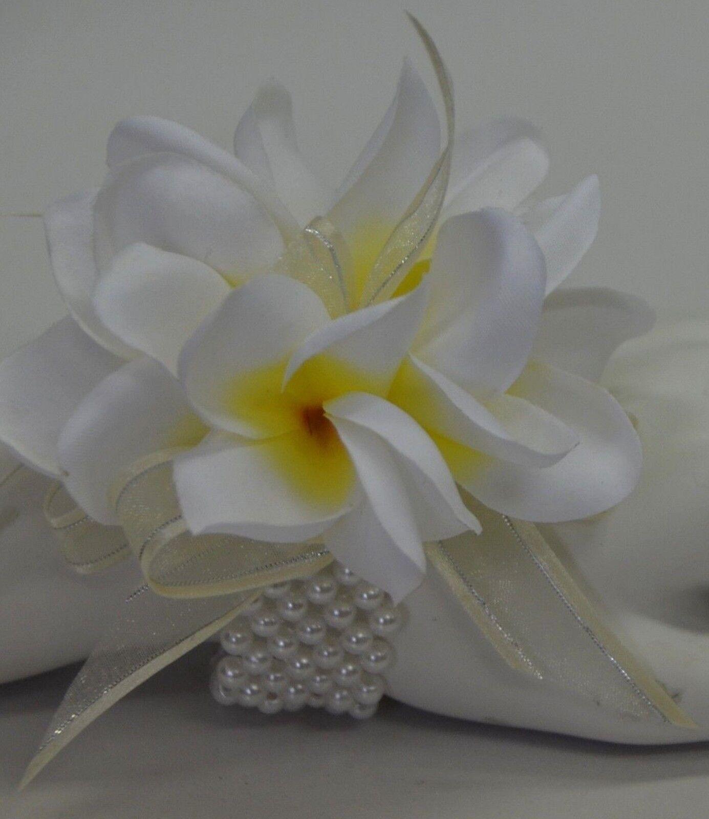 Silk Wedding Bouquet Frangipani Wrist Corsage Bridal Flower White