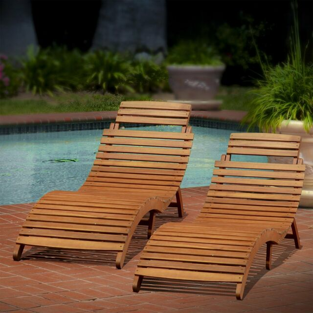 Beautiful Sunbathing Chair Sun Loungers Pool Poolside Furniture Patio Set Of 2 Wood  Chaise