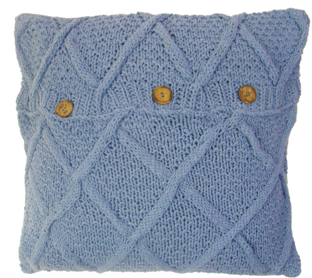 Taupe Beige Aran Cable Hand Knit Cotton Button Cushion Cover 22
