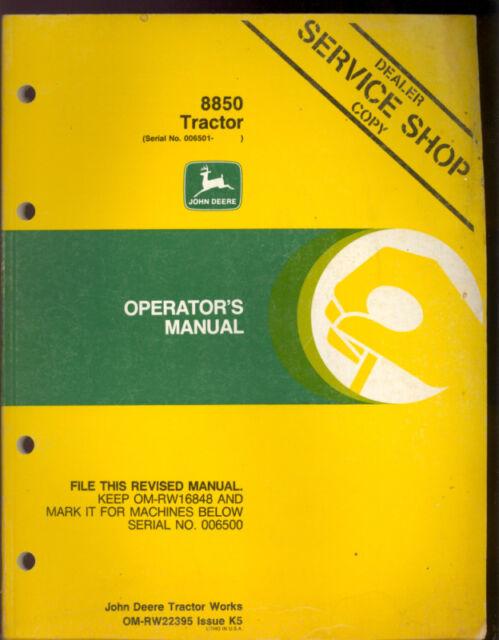 john deere 8850 tractors operators manual ebay rh ebay com john deere 8850 service manual john deere service manual 850j