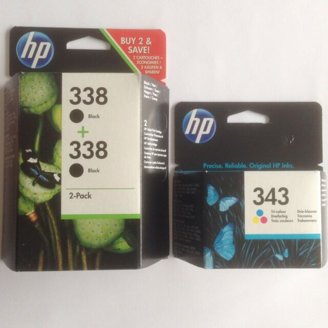 HP 2 x Schwarz Nr. 338 & 1 x Colour No 343 Original OEM Inkjet Patronen