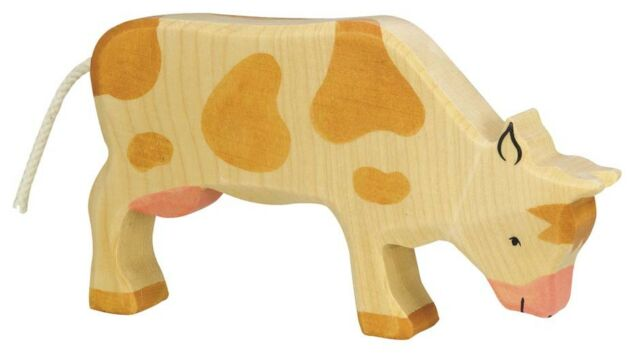 HOLZTIGER 80009: Brown and White Cow Grazing, Collectable Wooden Toy NEW