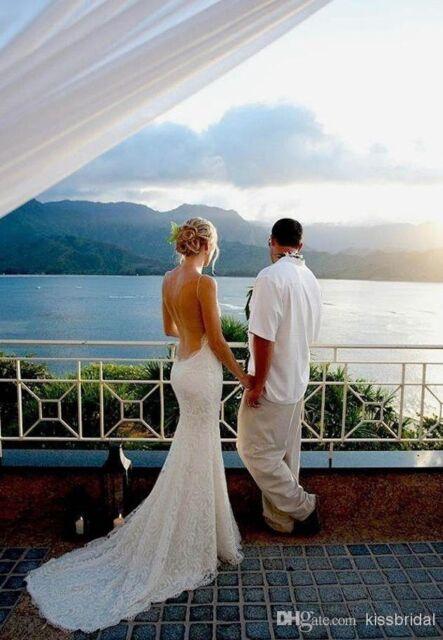 Beach Wedding Dresses Vintage Mermaid Spaghetti Backless Lace Bridal ...