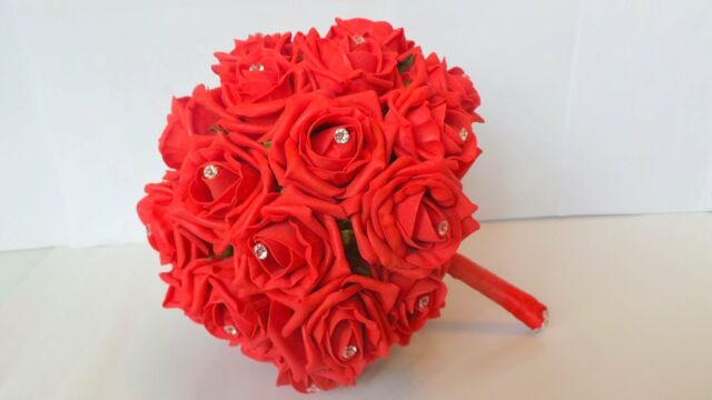 Wedding Bouquet In Red Roses With Diamante Pins