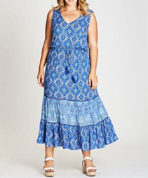 STUNNING BLUE PAISLEY  MAXI DRESS Size 18 FREE POST (AUTOGRAPH) RRP $100