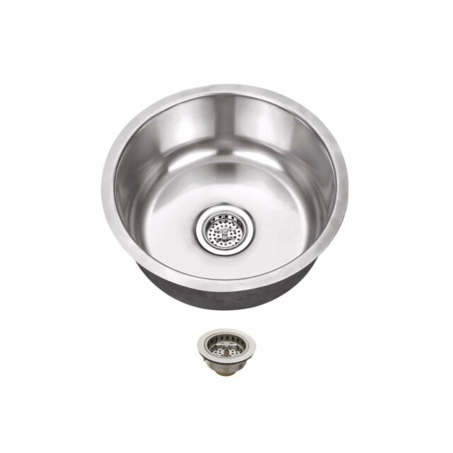 Cahaba CA122R17 Premium Single Bowl Undermount Round Bar Sink Stainless  Steel Wi