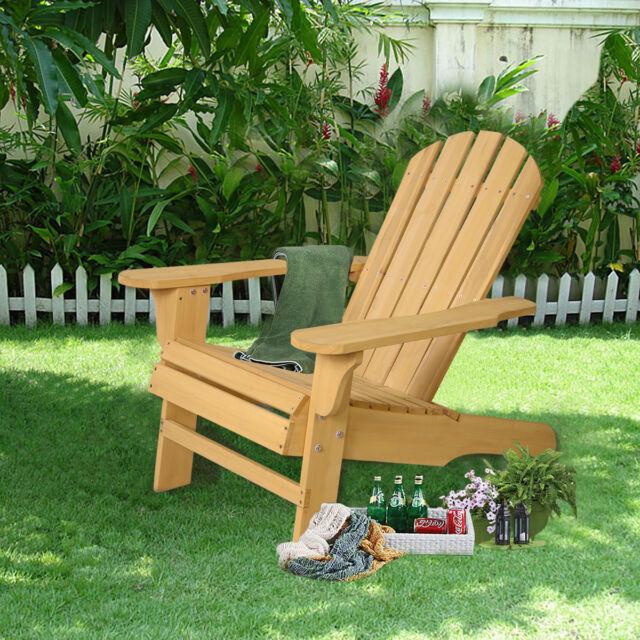 outdoor natural fir wood adirondack patio chair lawn deck garden