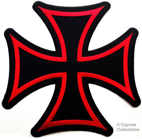 Biker Vest Patches >> Large Maltese Cross Iron on Patch Embroidered Red Gothic Motorcycle Biker Vest E | eBay