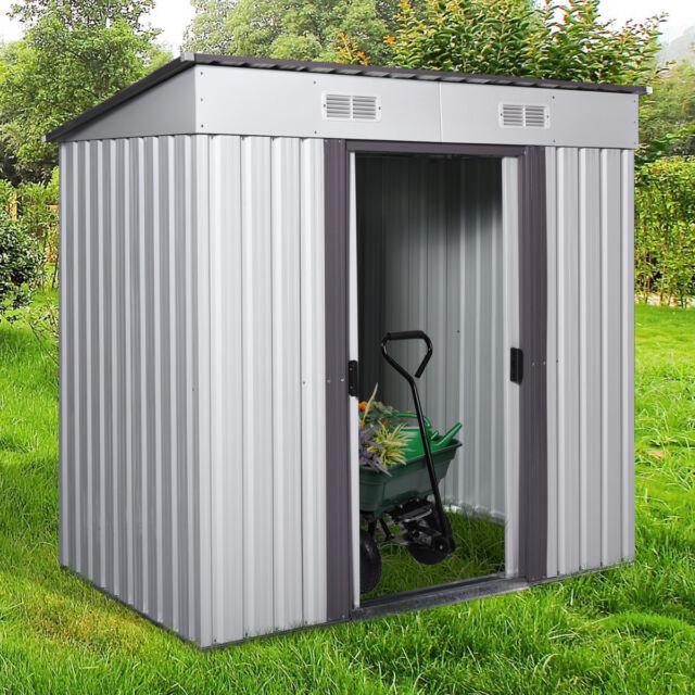 DIY Backyard Metal Garden Shed Storage Kit Building Doors Steel