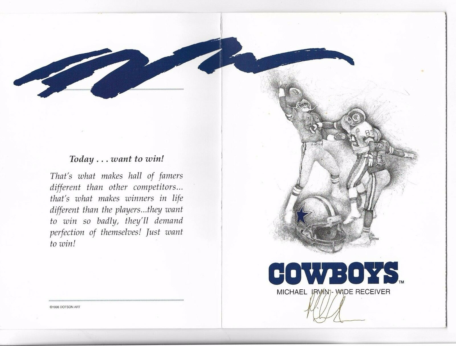 1996 dotson greeting card michael irvin 88 hof receiver dallas brand new lowest price kristyandbryce Choice Image