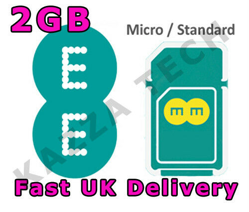 EE 4G PAYG 30 DAY INTERNET SIM CARD WITH 2GB FREE DATA PRE-LOADED 3G combi