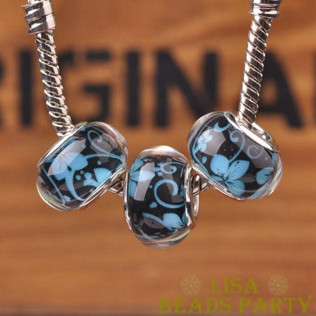 New 10pcs 14mm European Bracelet Resin Flowers Pattern Big Hole Beads Lake Blue