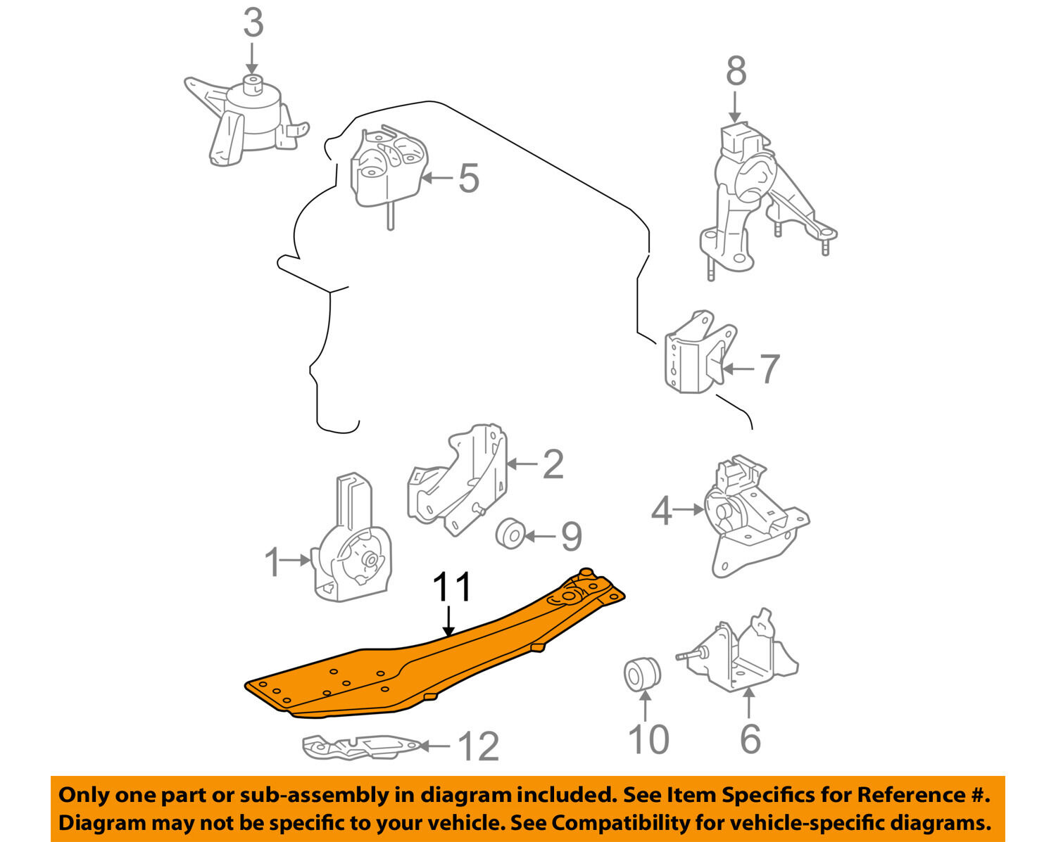 Scion Toyota Oem 05 10 Tc Engine Motor Transmission Center Bracket Diagram Picture 1 Of 2
