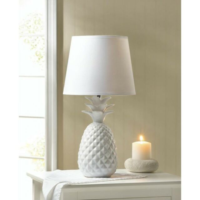 Pineapple table lamp white porcelain with fabric shade by gallery white pineapple lamp white ceramic base table lamp aloadofball Choice Image