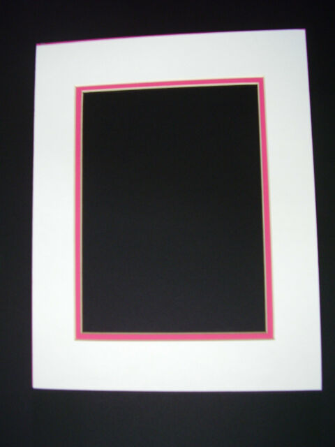 Picture Mat Double Mat 11x14 for 8x10 Photo White With Hot Pink ...
