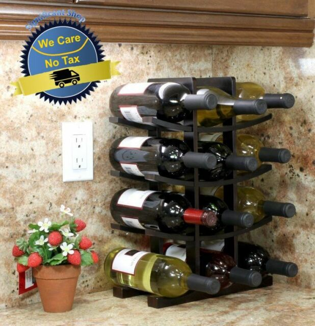 Wooden Wine Rack 12 Bottle Bar Kitchen Storage Liquor Holder Home Decor  Wood NEW