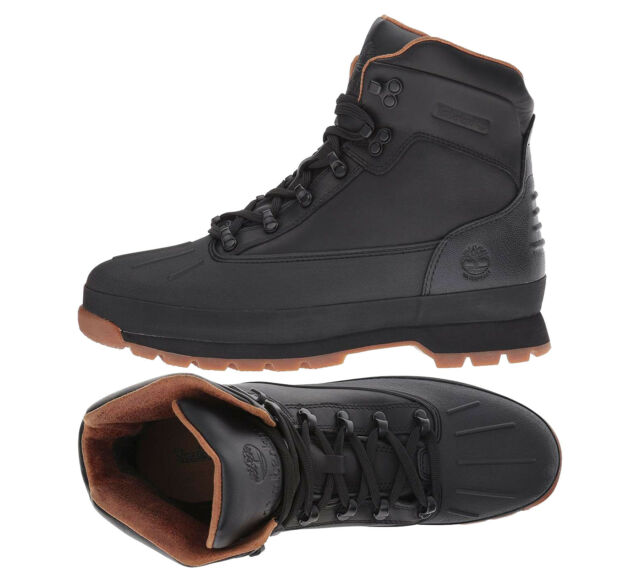 a8059e67f13a ... Timberland Boots Euro Hiker Mens Shell Toe Hiking Boots Black New  Authentic ...