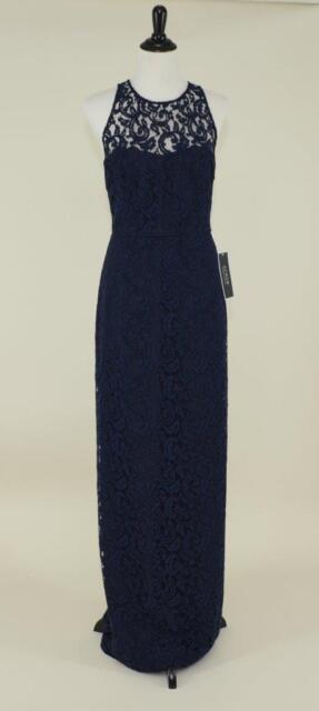 J Crew 298 Pamela Gown Leavers Lace 2 Navy Bridesmaid Long Evening Prom Dress