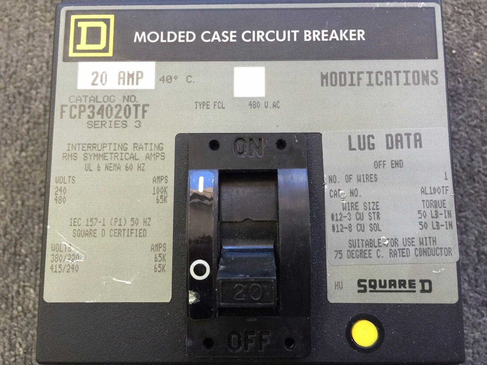Square D Molded Case Circuit Breaker 20 Amp 480v 3 Pole FCP34020TF ...