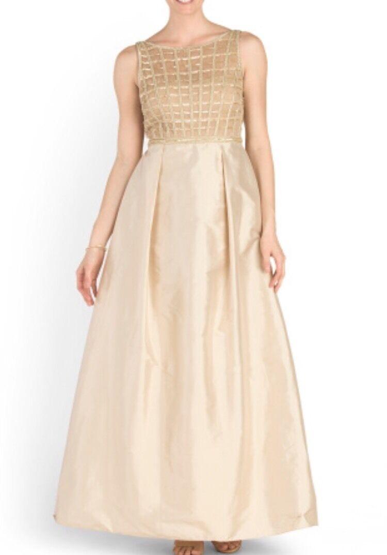 Aidan Mattox Gold Beaded Bodice Taffeta Ball Gown Size 2 #054467050 ...