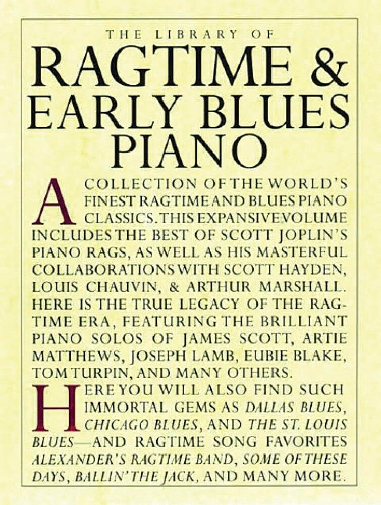 The Library of Ragtime and Early Blues Piano Sheet Music Book ...