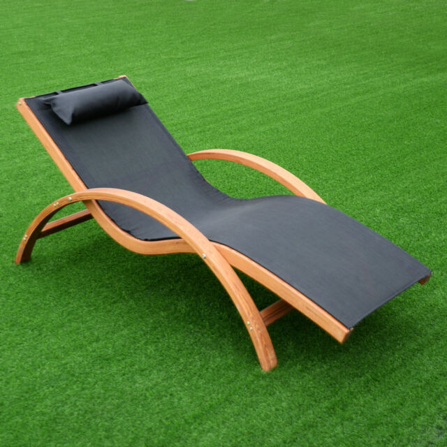 Lounge Chair Larch Wood Beach Yard Patio Camping Lounger W Headrest New