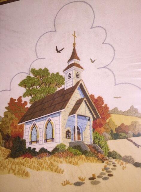 Sunset Stichery Country Church Crewel Embroidery Kit 2479 14x18 B Jennings