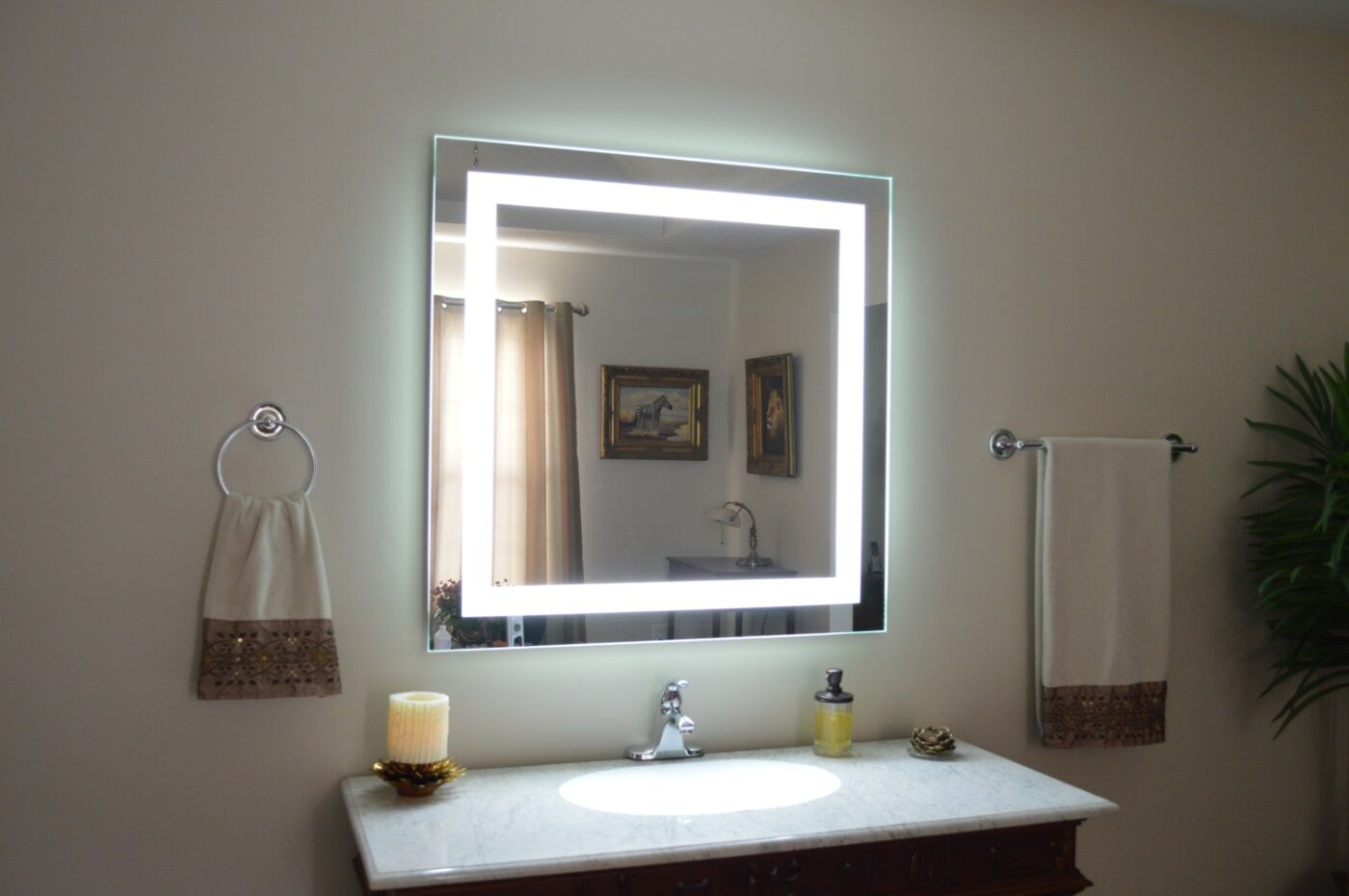 Lighted vanity mirror led lighted wall mounted 36 wide x 32 tall picture 1 of 3 aloadofball Choice Image