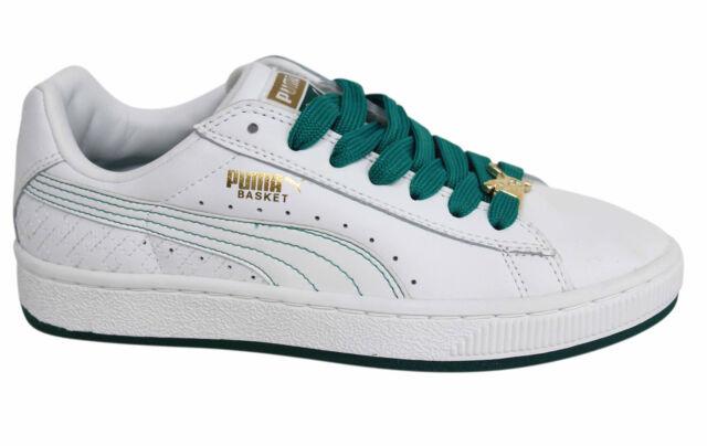 Puma Basket II da donna Bianco Verde Scarpe ginnastica in pelle con lacci 348969