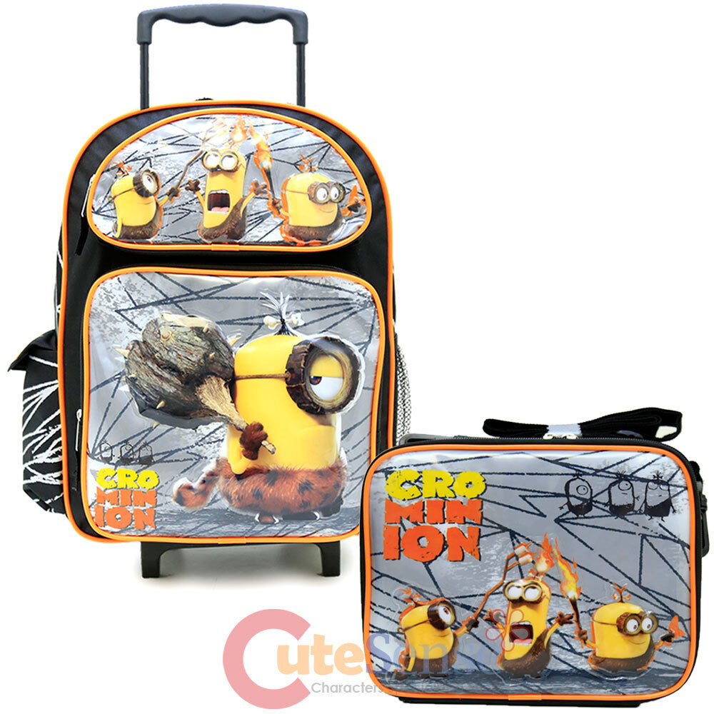 Despicable Me 3 Minions Large School Roller Backpack Lunch Bag 2pc ...
