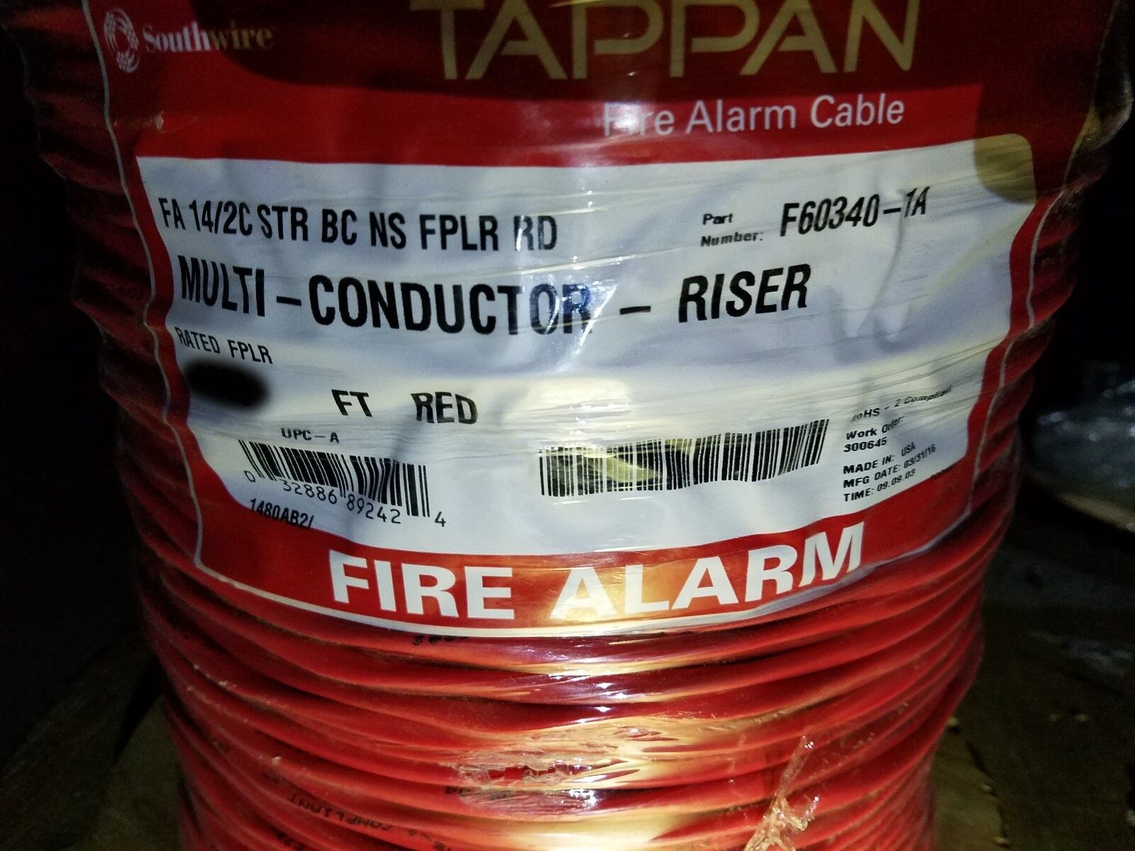 Southwire/tappan F60340 580132 14/2c Stranded Fire Alarm Cable ...