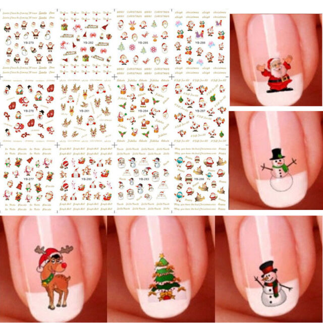 12 Sheet Christmas 3d Nail Art Stickers Snowflakes & Cute Snowmen Nail  Decals 3 | eBay