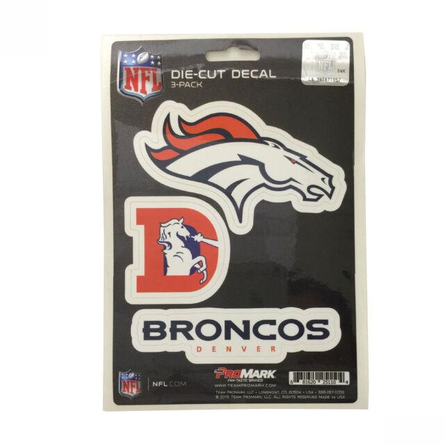Team promark nfl denver broncos die cut decal sticker 3 pack made in u s a
