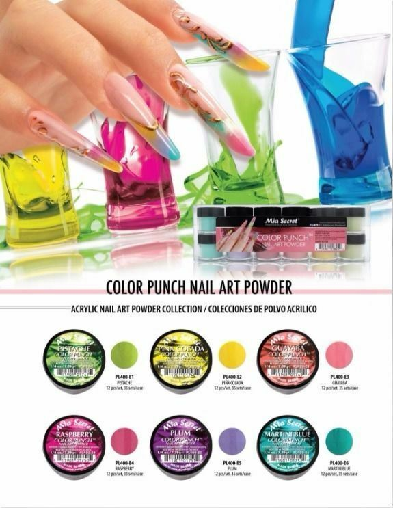 Mia Secret Acrylic Nail Powder Color Punch Collection for Colored ...