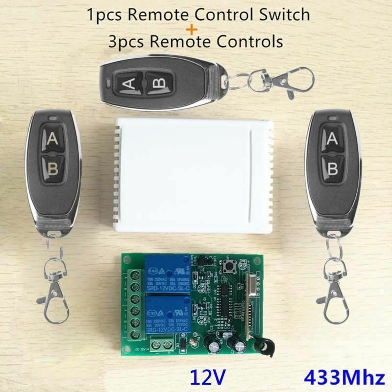 2ch 433mhz Relay 3pcs Remote Control Switch Transmitter Receiver For