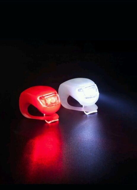 2 LED Silicone Bike Lights Front & Rear set Cycle Safety Clip on night lights