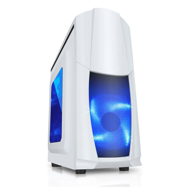 CiT Dragon Midi White Gaming PC Case With Blue LED Fans USB3.0 Side Window