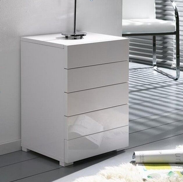high gloss kommode mit schubladen hochglanz wei ebay. Black Bedroom Furniture Sets. Home Design Ideas