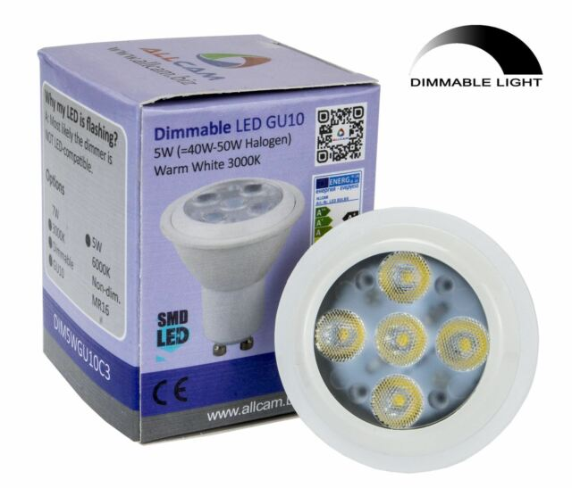 Allcam 5W DIMMABLE GU10 LED Bulbs 400lm ~35W Halogen Spotlight *New