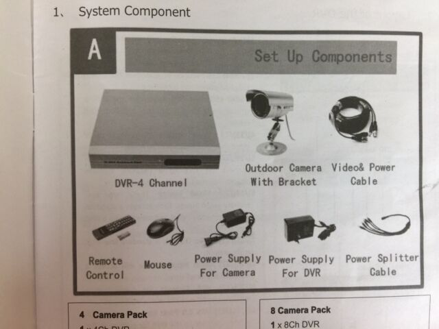 4CH Standalone Network DVR H.264 Surveillance Security System CCTV Cameras Kit