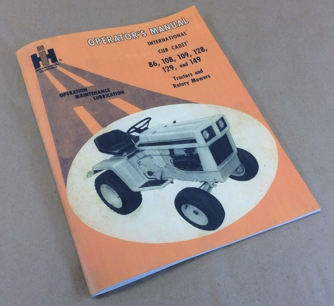 international cub cadet tractor model 128 129 owner operators manual rh ebay com cub cadet 129 owners manual cub cadet 149 manuals