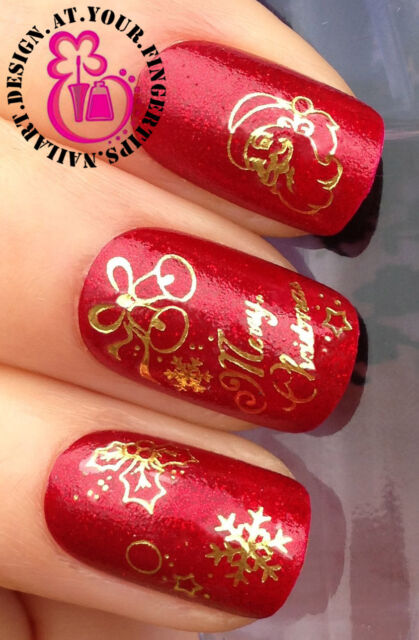 Christmas Nail Art Water Decals Transfers Stickers Gold Santa Bells