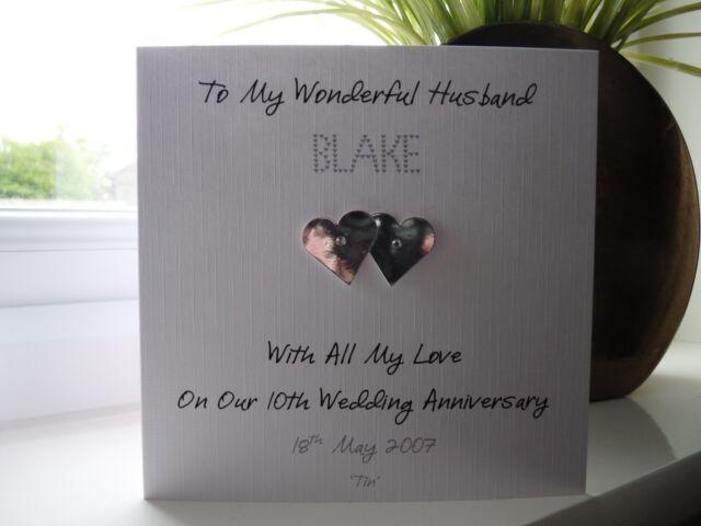 Handmade personalised tin th wedding anniversary card husband